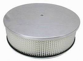"Air Cleaner, Polished Aluminum 14"" X 4"" Round  -Plain, Paper Element & Recessed Base Photo Main"