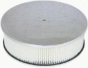 "Air Cleaner, Polished Aluminum 14"" X 4"" Round  -Flame, Paper Element & Recessed Base Photo Main"