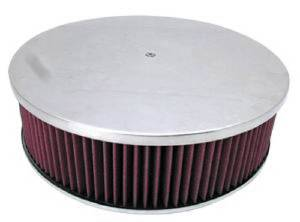 "Air Cleaner, Polished Aluminum 14"" X 4"" Round -Plain, Washable Element & Off-Set Base Photo Main"