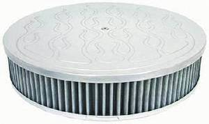 "Air Cleaner, Polished Aluminum 14"" X 4"" Round  -Flame, Washable Element & Off-Set Base Photo Main"