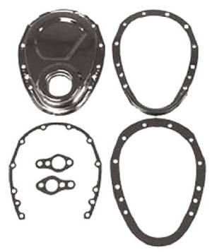 Timing Chain Cover Set - Chrome, SB Chevy 2 Piece Kit (Includes Gaskets & Seal) Photo Main