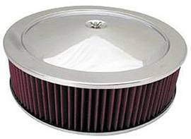 "Air Cleaner, Chrome 14"" X 4"" Muscle Car Style  -Washable Element & Flat Base Photo Main"