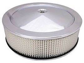 "Air Cleaner, Chrome 14"" X 4"" Muscle Car Style -Paper Element & Recessed Base Photo Main"