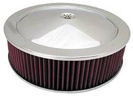 "Air Cleaner, Chrome 14"" X 4"" Muscle Car Style  -Washable Element & Recessed Base Photo Main"