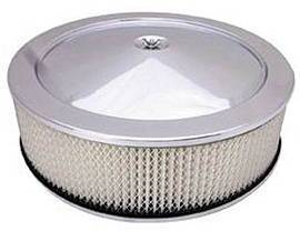 "Air Cleaner, Chrome 14"" X 4"" Muscle Car Style  -Paper Element & Hi-Lip Base Photo Main"