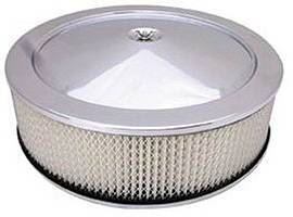 "Air Cleaner SetChrome 14"" X 4"" Muscle Car Style  -Paper Element & Off-Set Base Photo Main"