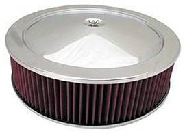 "Air Cleaner, Chrome 14"" X 4"" Muscle Car Style -Washable Element & Off-Set Base Photo Main"