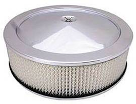 "Air Cleaner, Stainless Steel 14"" X 4"" Muscle Car Style  -Paper Element & Flat Base Photo Main"