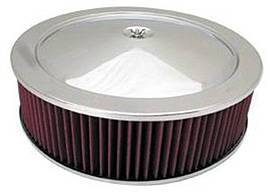 "Air Cleaner, Stainless Steel 14"" X 4"" Muscle Car Style  -Washable Element & Flat Base Photo Main"