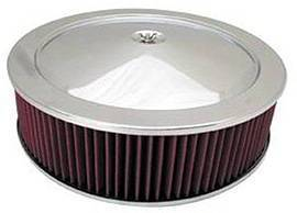 "Air Cleaner, Stainless Steel 14"" X 4"" Muscle Car Style -Washable Element & Recessed Base Photo Main"