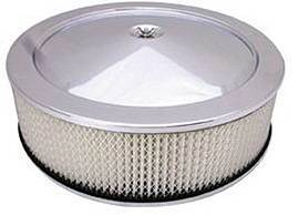 "Air Cleaner, Stainless Steel 14"" X 4"" Muscle Car Style  -Paper Element & Hi-Lip Base Photo Main"