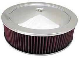 "Air Cleaner, Stainless Steel 14"" X 4"" Muscle Car Style  -Washable Element & Hi-Lip Base Photo Main"