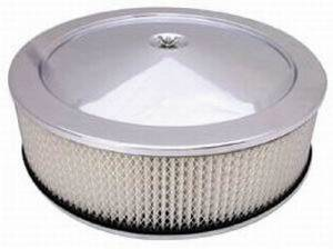 "Air Cleaner, Stainless Steel 14"" X 4"" Muscle Car Style -Paper Element & Off-Set Base Photo Main"