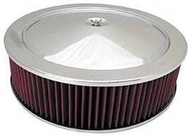 "Air Cleaner, Stainless Steel 14"" X 4"" Muscle Car Style -Washable Element & Off-Set Base Photo Main"