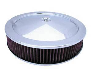 "Air Cleaner, Chrome 14"" X 3"" Muscle Car Style  -Washable Element & Flat Base Photo Main"