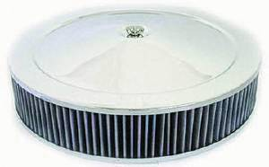 "Air Cleaner, Chrome 14"" X 3"" Muscle Car Style  -Washable Element & Off-Set Base Photo Main"