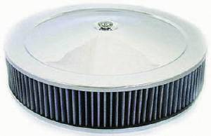 "Air Cleaner, Chrome 14"" X 3"" Muscle Car Style  -Washable Element & Hi-Lip Base Photo Main"