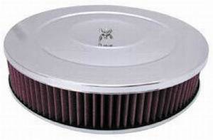 "Air Cleaner, Chrome 14"" X 3"" Performance Style -Washable Element & Recessed Base Photo Main"