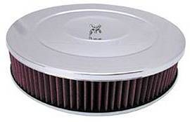 "Air Cleaner, Chrome 14"" X 3"" Performance Style  -Washable Element & Hi-Lip Base Photo Main"
