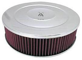 "Air Cleaner, Chrome 14"" X 4"" Performance Style Air Cleaner Set -Washable Element & Flat Base Photo Main"