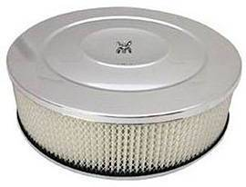 "Air Cleaner, Chrome 14"" X 4"" Performance Style -Paper Element & Recessed Base Photo Main"