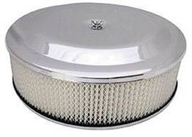 "Air Cleaner, Chrome 14"" X 4"" Race Car Style  -Paper Element & Flat Base Photo Main"
