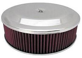 "Air Cleaner, Chrome 14"" X 4"" Race Car Style  -Washable Element & Hi-Lip Base Photo Main"