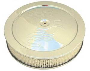 "Air Cleaner, Chrome 14"" X 4"" With ""Flames"" -Paper Element & Recessed Base Photo Main"