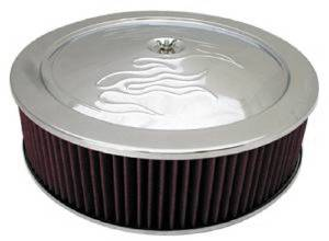 "Air Cleaner, Chrome 14"" X 4""  With ""Flames"" -Washable Element & Recessed Base Photo Main"