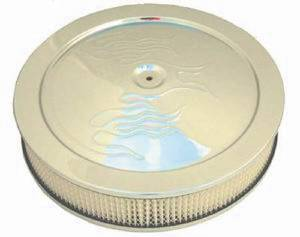 "Air Cleaner, Chrome 14"" X 4""  With ""Flames"" -Paper Element & Flat Base Photo Main"