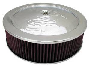 "Air Cleaner, Chrome 14"" X 4""  With ""Flames"" -Washable Element & Hi-Lip Base Photo Main"