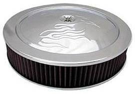"Air Cleaner, Chrome 14"" X 3""  With ""Flames"" -Washable Element & Hi-Lip Base Photo Main"