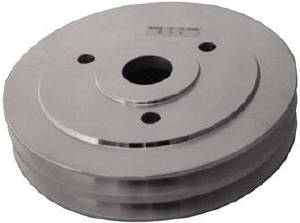 Crank Shaft Pulley - Satin Aluminum -Big Block Chevy Double Groove (Short Water Pump) Photo Main