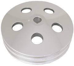 Power Steering Pulley, Satin Aluminum,  Early GM Double Groove  Photo Main