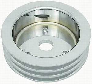 Crank Shaft Pulley - Polished Aluminum -Small Block Chevy, Triple Groove (Short Water Pump) Photo Main