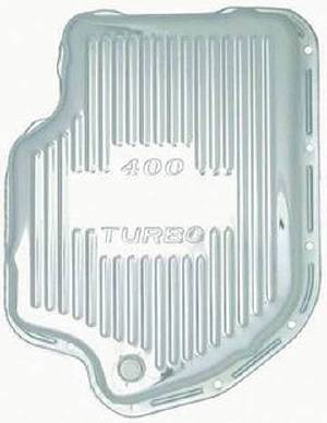 "Transmission Pan Chrome GM Turbo 400  -Finned & 4"" Deep (Adds 2 1/2 Qts) Photo Main"
