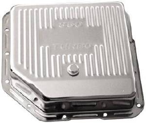 Transmission Pan Chrome Gm Turbo 350 -Finned & 3 1/2 inch Deep (Adds 2 quarts) Photo Main
