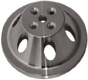 Water Pump Pulley (Short Water Pump) Single Groove, Satin Aluminum, Small Block Chevy  Photo Main
