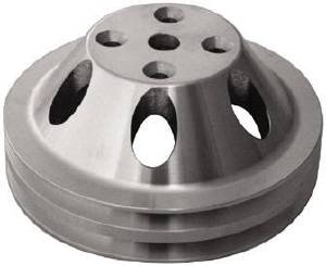 Water Pump Pulley (Long Water Pump) Double Groove, Satin Aluminum, Small Block Chevy  Photo Main