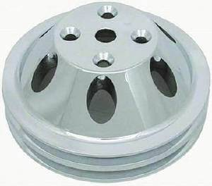 Water Pump Pulley (Long Water Pump) Double Groove, Polished Aluminum Small Block Chevy  Photo Main