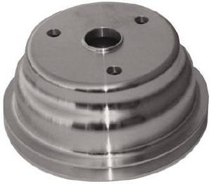 Crank Shaft Pulley - Satin Aluminum -Small Block Chevy Single Groove (Long Water Pump) Photo Main
