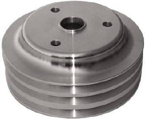 Crank Shaft Pulley - Satin Aluminum -Small Block Chevy Triple Groove (Long Water Pump) Photo Main