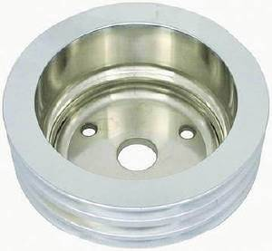 Crank Shaft Pulley - Polished Aluminum -Small Block Chevy, Triple Groove (Long Water Pump) Photo Main