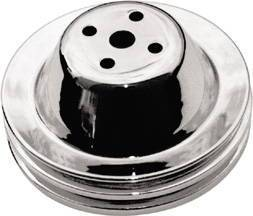 Water Pump Pulley (Short Water Pump) Chrome Small Block Chevy 283-350 V8 Double Groove Photo Main