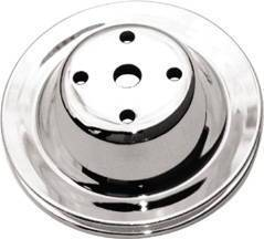 Water Pump Pulley (Long Water Pump) Chrome Small Block Chevy 283-350 V8 Single Groove Photo Main