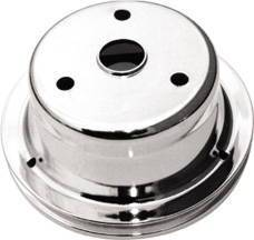 Crank Shaft Pulley, Chrome - Single Groove -Long Water Pump, Small Block Chevy 283-350 Photo Main