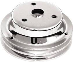 Crank Shaft Pulley, Chrome - Double Groove -Long Water Pump, Small Block Chevy 283-350 Photo Main
