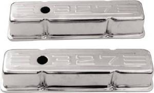 "Valve Cover Chrome 1958-86 Small Block Chevy 283-350 Tall ""327"" C.i.d. Logo- Baffled (Includes Grommets) Photo Main"