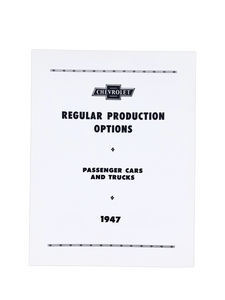 Option Booklet - (RPO) Regular Production Options Photo Main