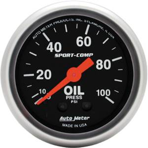 "Instrument Gauges - Auto Meter Sport Comp Series 2-1/16"" Oil Pressure Gauge. Mechanical 0-100 Psi., Full Sweep Photo Main"